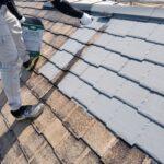 高槻市 屋根塗装上塗り1回目 GAINA