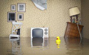 浸水した部屋