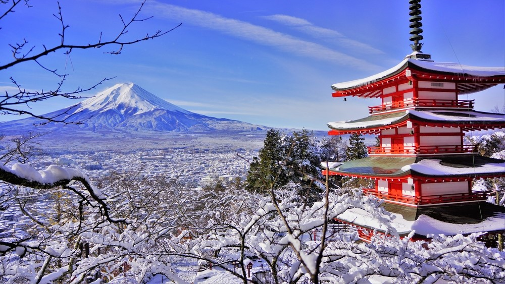 富士山と雪景色